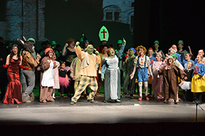 The cast of the Sentinel Upstage Players's production of Shrek the Musical, Jr. join together in song at NFCC's Van H. Priest Auditorium on Jan. 28.