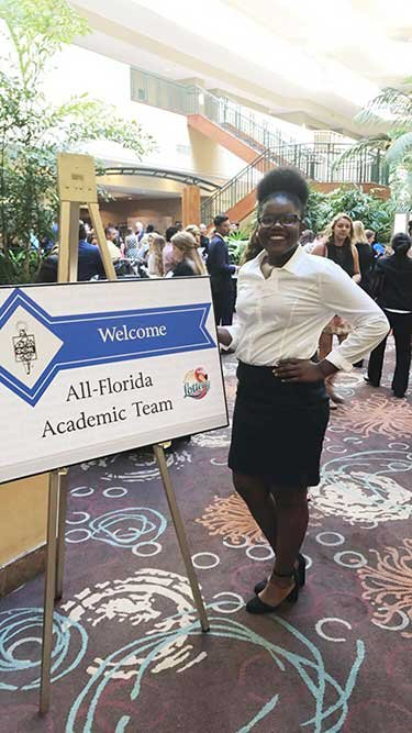 Monica Powe at 2018 All-Florida Academic Team awards ceremony April 6
